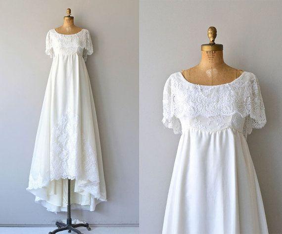 Vintage 1970s Wedding Dress • Empire