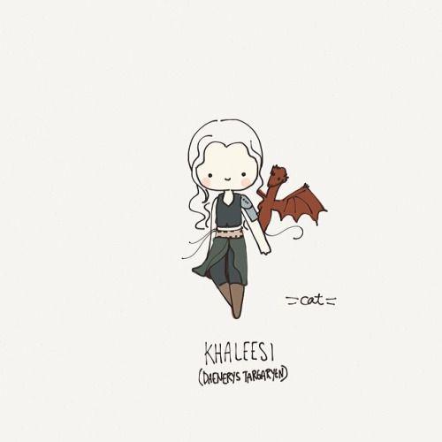 Khaleesi Daenerys Targaryen Game Of Thrones Chibi Fanart Avec