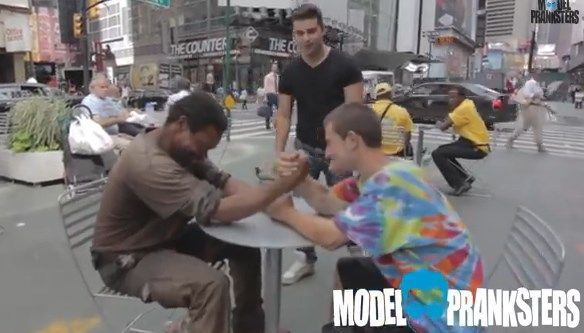 Homeless arm wrestling video will restore your faith in humankind