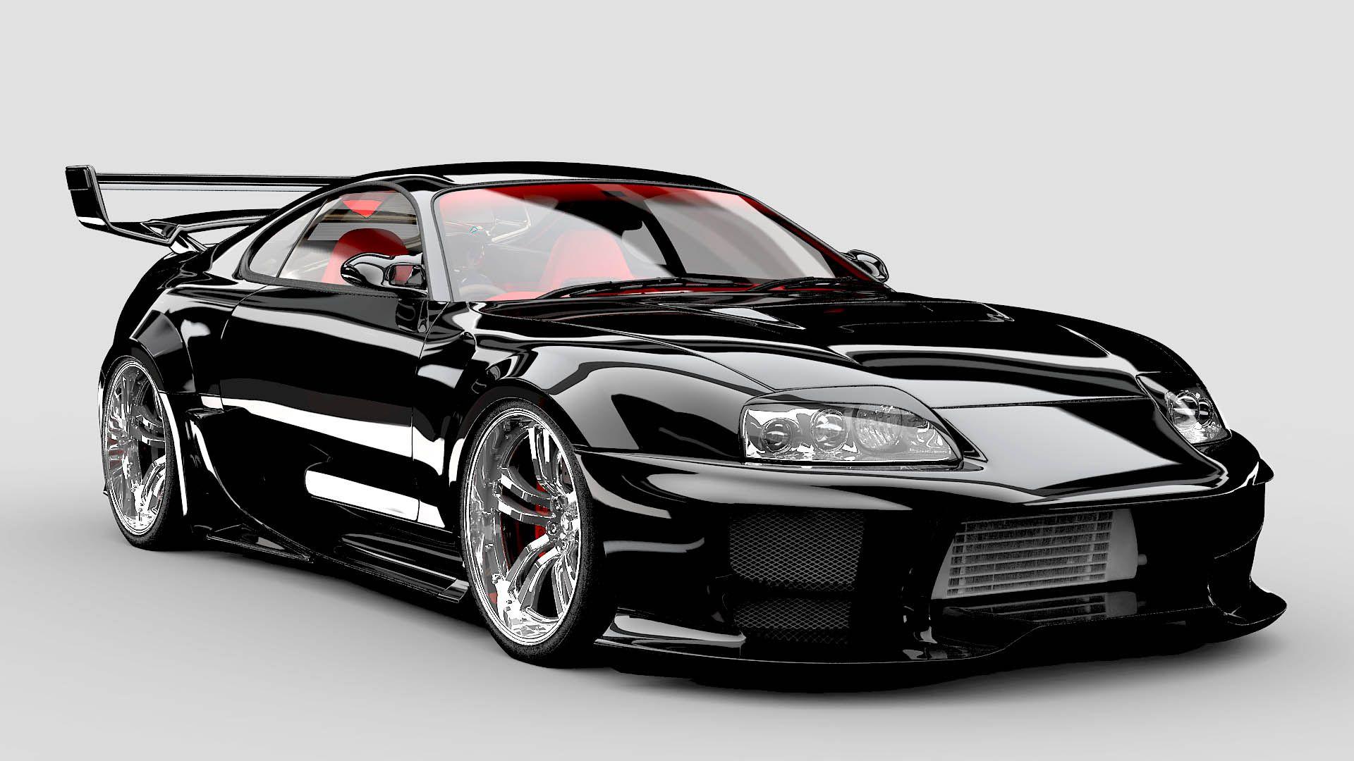 Cool Toyota Supra Modified In Black Wallpaper