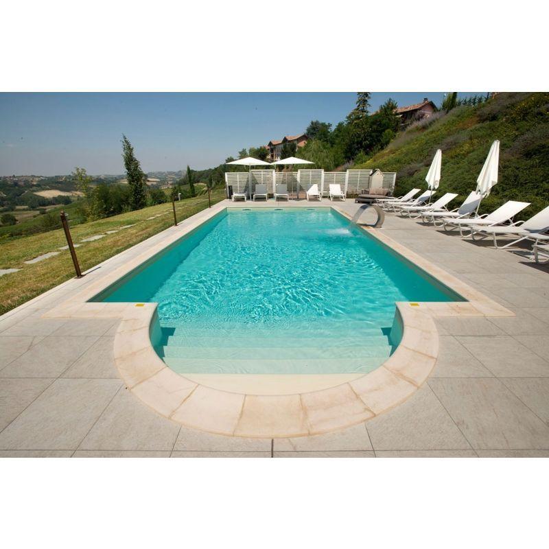 Kit piscina interrata 8x4 mt rettangolare fondo piano 1,50
