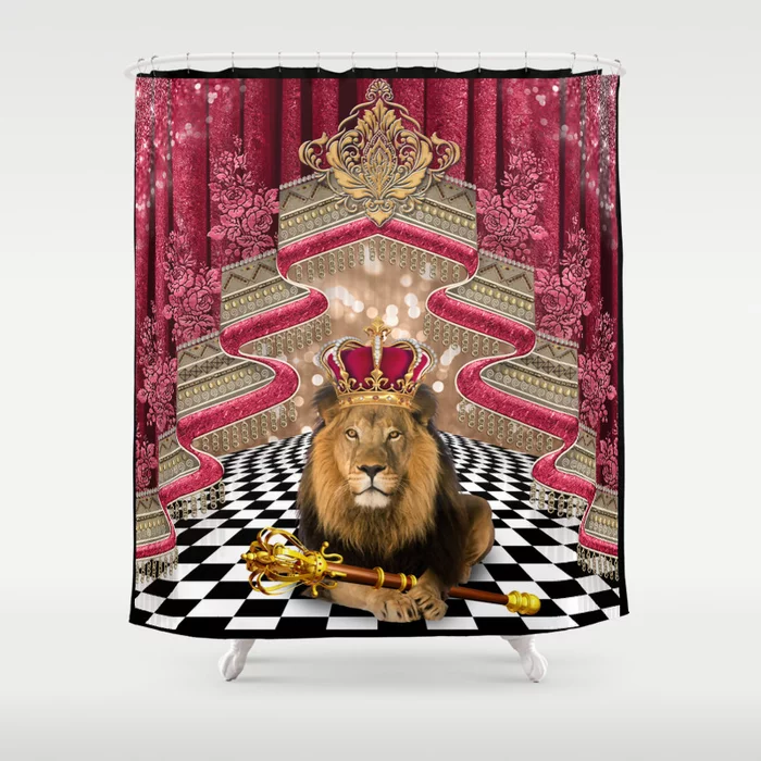 Lion King On Decorative Textured Background Shower Curtain By