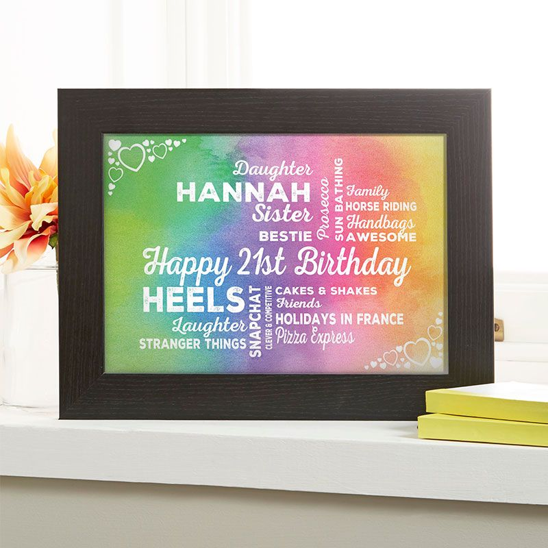 21st Birthday Gift For Her Of Typographic Art Watercolour Rainbow Colour Option Beautiful