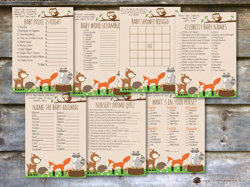 Woodland Baby Shower Party Package - Woodland Animal Baby Shower Package, Printable Baby Shower Package, Woodland Shower Package - DIY