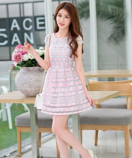 Women Pretty Crew Neck Printed Polka Dot Pink Lace Short Sleeve Dress