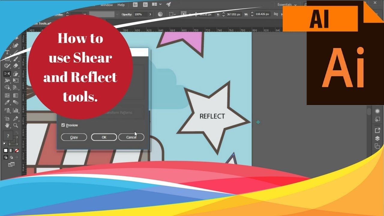 Adobe Illustrator Cc 19 How To Use The Shear And Reflect Transformi Adobe Creative Cloud Tutorials Adobe Illustrator Tutorials Adobe Illustrator