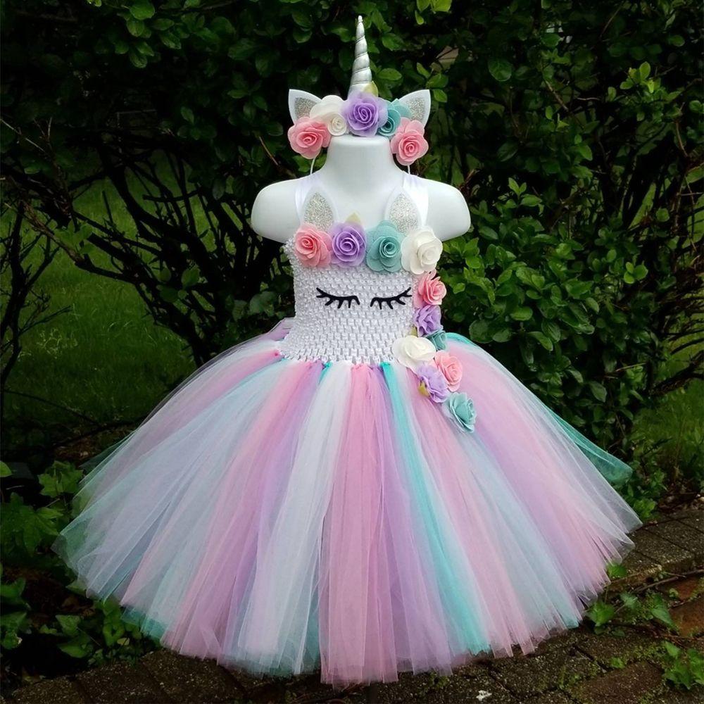 Cheap Niños Niñas Unicornio Tutú Rodilla Longitud Pastel Arco Iris Niña Fiesta De Cu Disfraz De Unicornio Unicornio Para Niños Vestidos De Fiesta De Cumpleaños