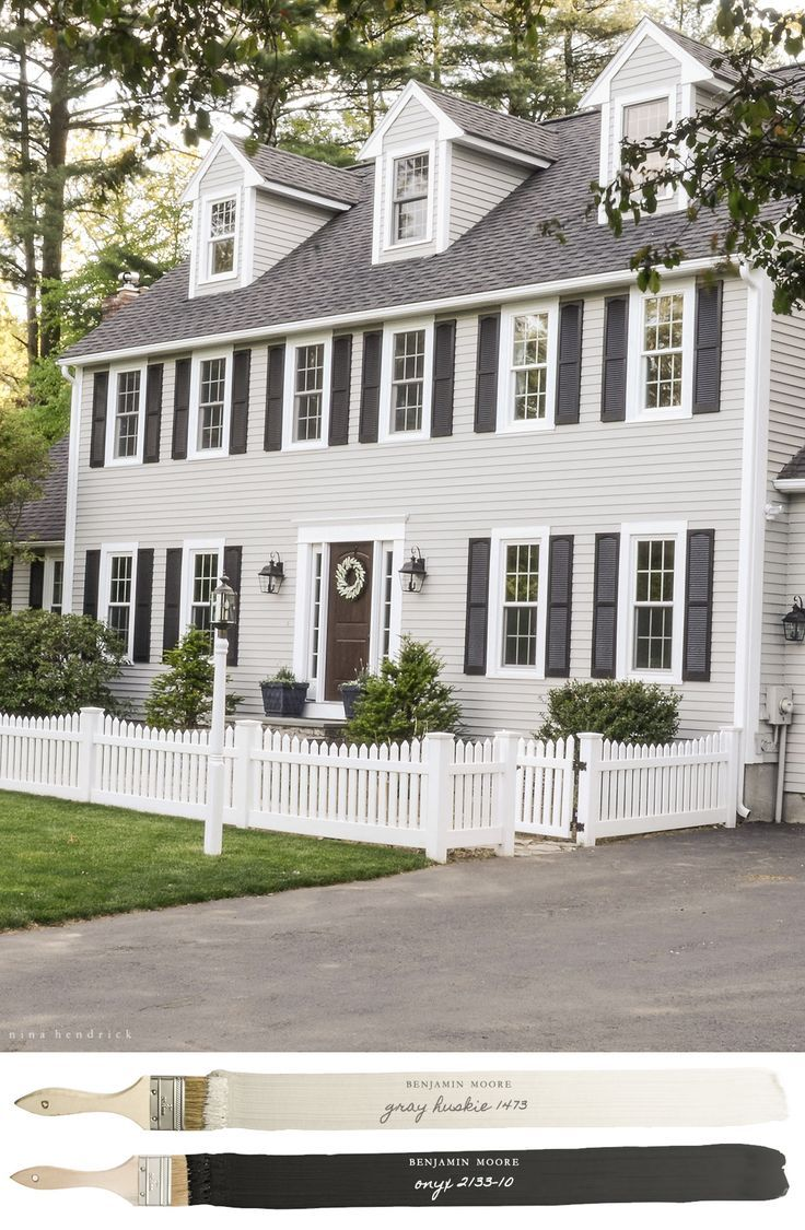 Exterior House Colors With Brown Roof: New England Neutral Paint Color Scheme