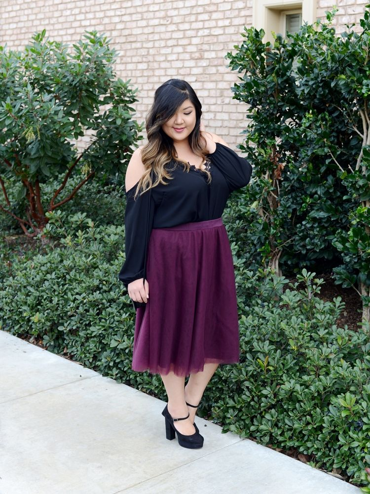 367c4637755 Curvy Girl Chic Plus Size Fashion Blog Charlotte Russe Cold Shoulder Top  and Burgundy Tulle Midi Skirt