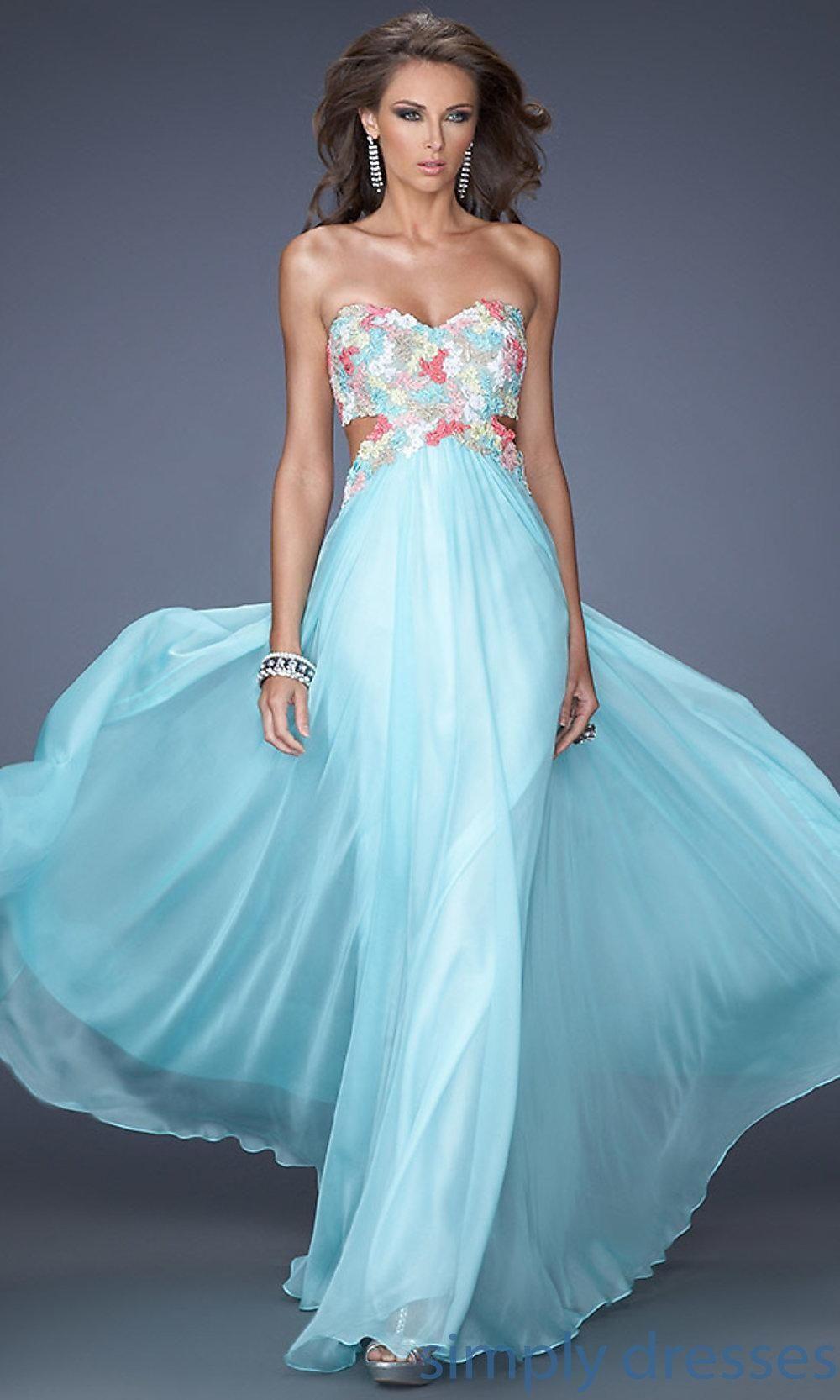 La Femme Long Strapless Sweetheart Open Back Dress - Brought to ...