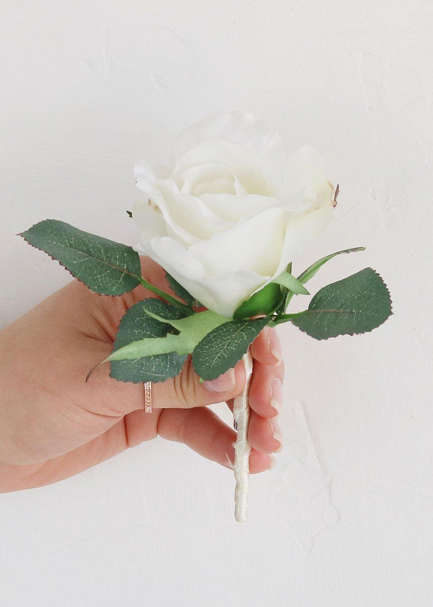 White Rose Boutonniere Make Your Own Wedding Boutonnieres With Silk Flowers Or Find Pre Made Bouts For All Groomsmen At Afl