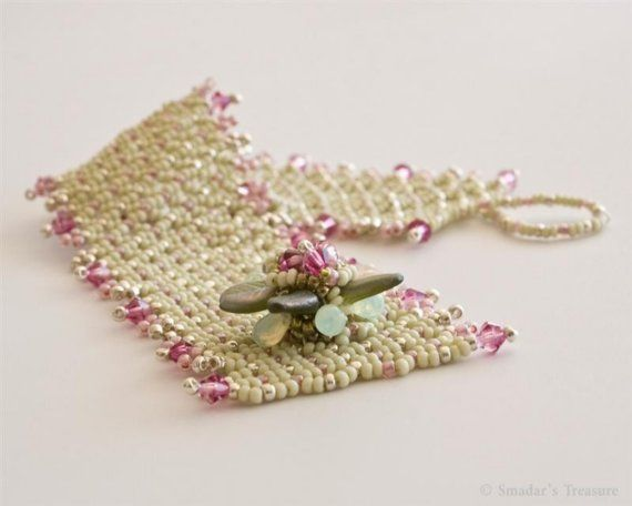 Light Green and Pink Bracelet with Flower by SmadarsTreasure