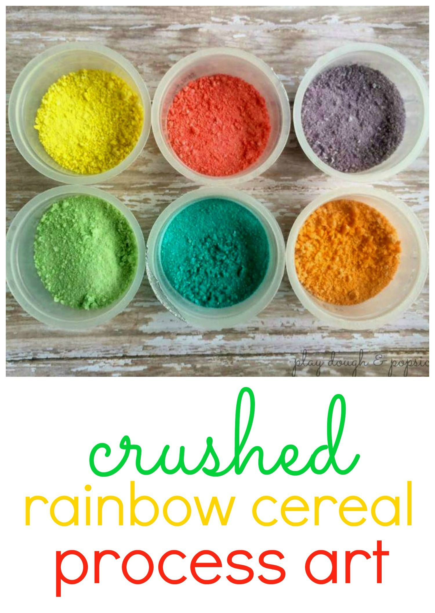 Crushed Rainbow Cereal Process Art