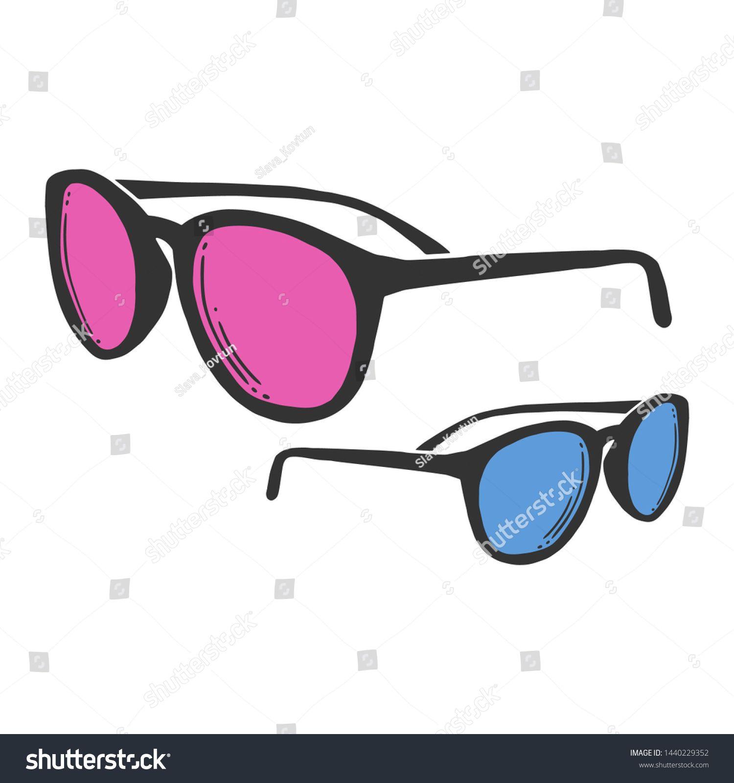 Fashion Sunglasses Vector Concept Doodle Sketch Stock Vector (Royalty Free) 1440229352