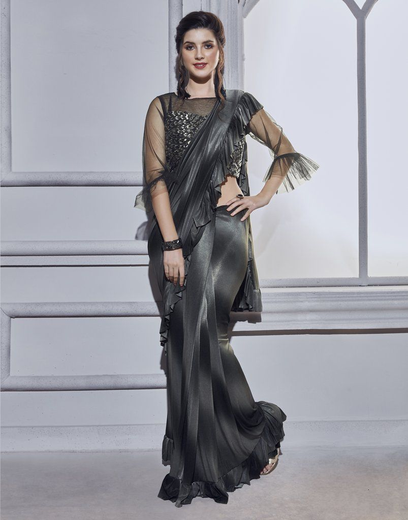 Sari Indian Blouse Work Designer Party Wear Fancy Grey Saree Blouse Ethnic Wear