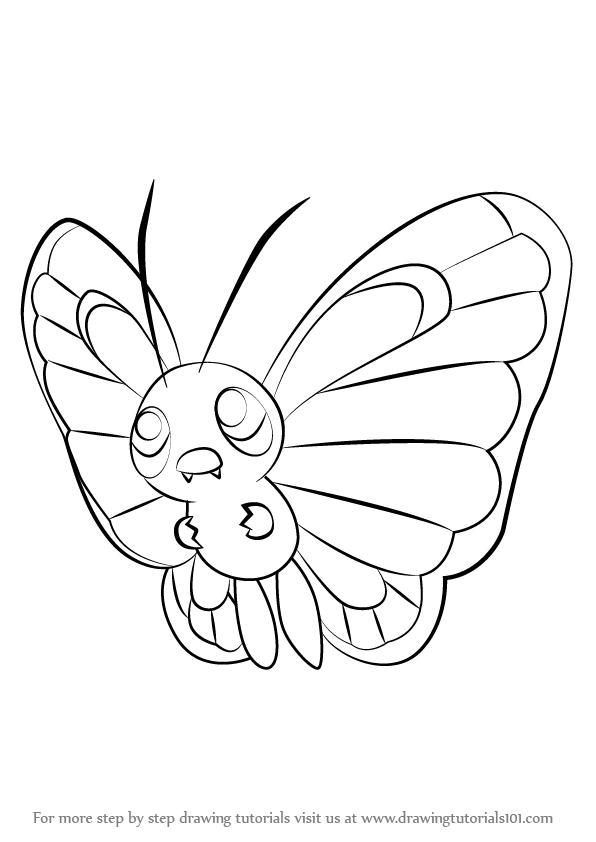 How To Draw Butterfree From Pokemon Drawingtutorials101 Com Pokemon Drawings Drawings Pokemon