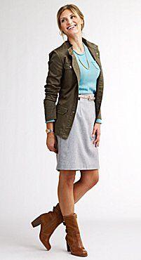 Military Shirt + Long-Sleeve tee + Pencil Skirt + Skinny Belt + Boots