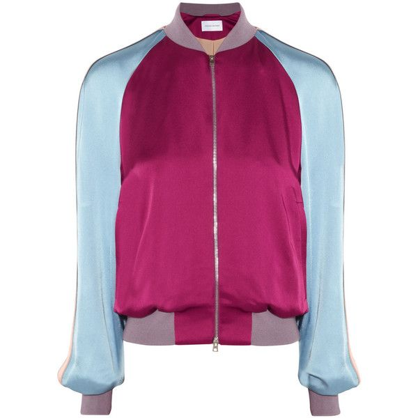 Jonathan Saunders Mary satin bomber jacket (8.794.060 VND) ❤ liked on Polyvore featuring outerwear, jackets, casacos, jonathan saunders, plum, purple jacket, satin jacket, blouson jacket and purple satin jacket
