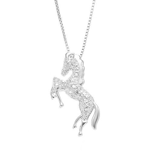 Sterling silver 110 carat tw diamond horse pendant jewel box sterling silver 110 carat tw diamond horse pendant aloadofball Image collections