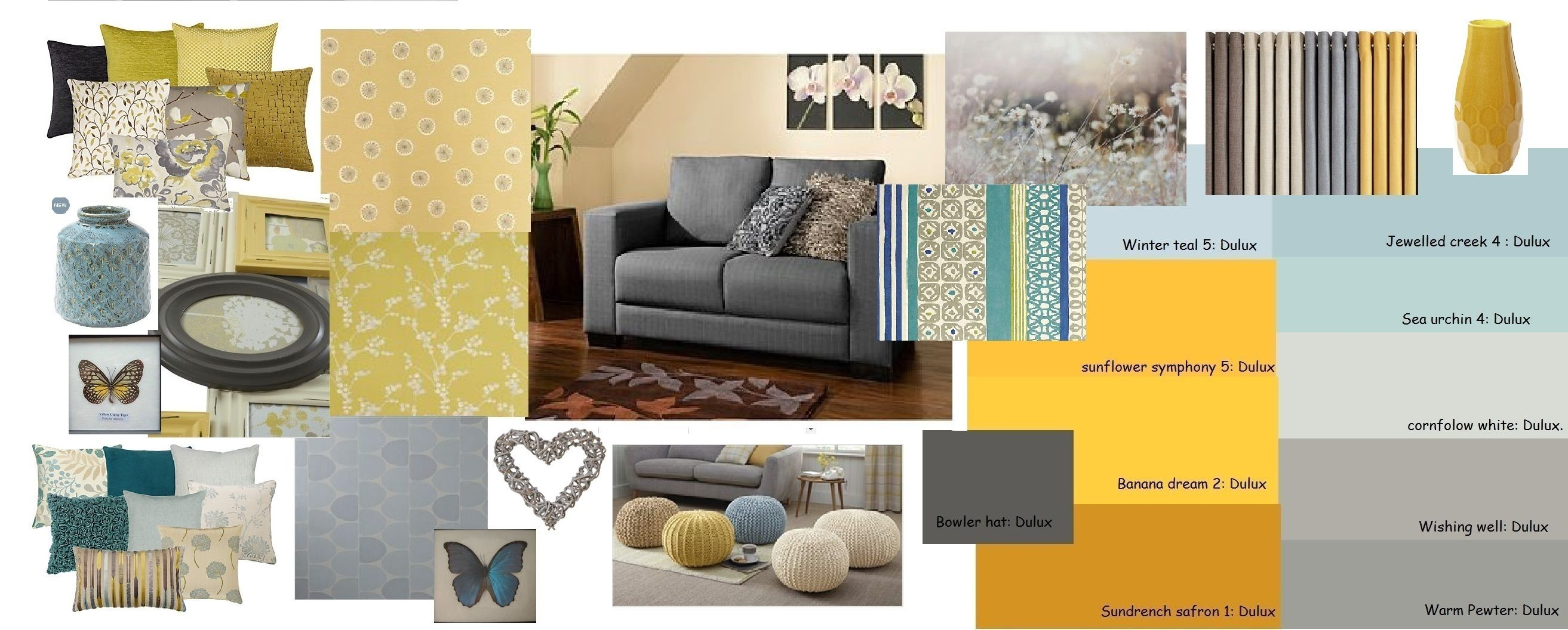 Mustard grey blue living room home decor pinterest - Grey and blue living room furniture ...