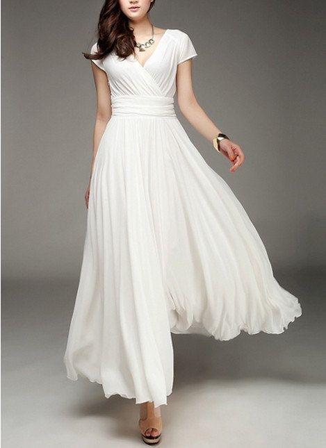 fad546543b8 Women s White Long Dress Chiffon Skirt by colorfulday01 on Etsy ...