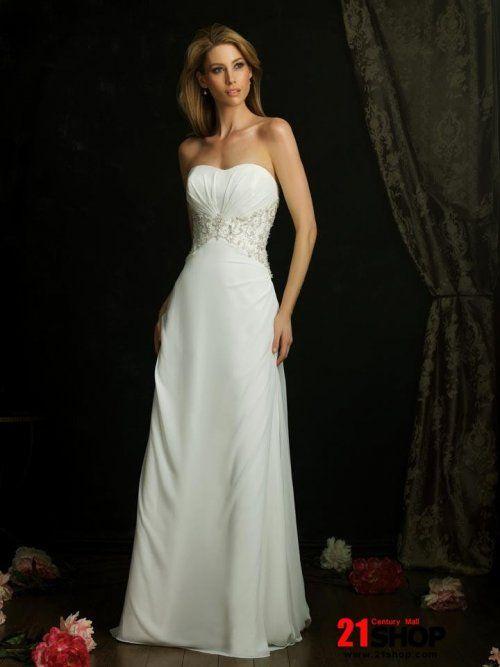 Ivory Strapless Chiffon Column/Sheath Designer Wedding Dress