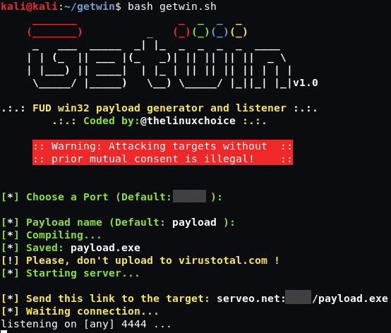 Getwin - FUD Win32 Payload Generator And Listener in 2019 | Hacking