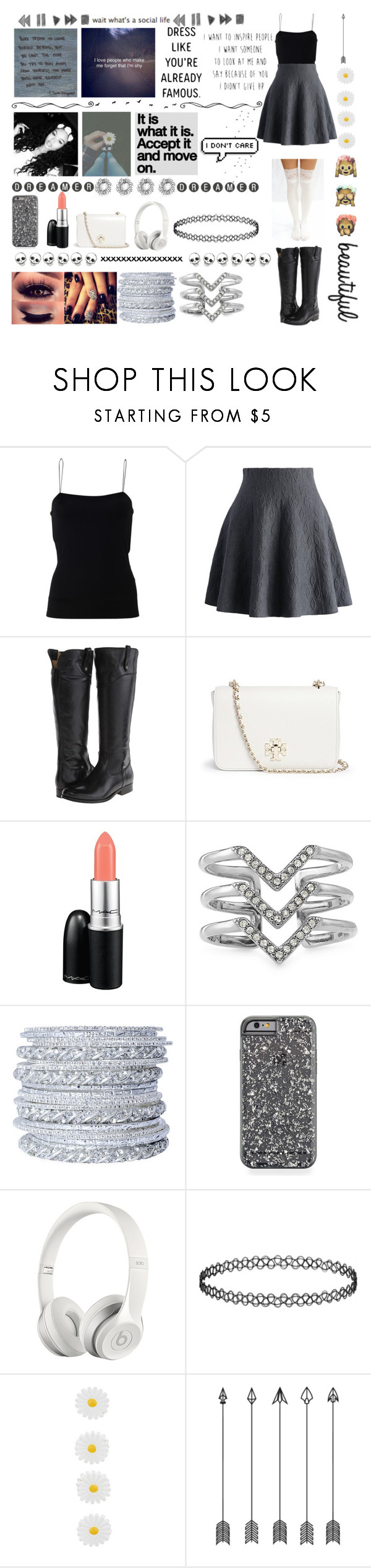 """Random #2"" by merchelsmith ❤ liked on Polyvore featuring мода, T By Alexander Wang, Chicwish, Frye, Tory Burch, MAC Cosmetics, Stella & Dot, Chamak by Priya Kakkar, Beats by Dr. Dre и Accessorize"
