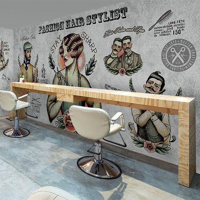 3d Personalized Custom Wallpaper Vintage Barber Shop Hair Salon