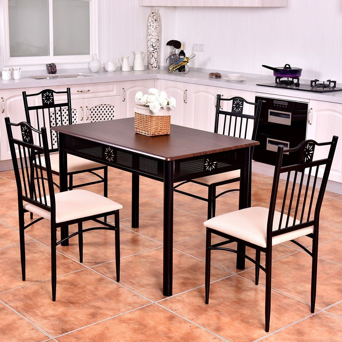 Dining table sets black marble dining table 4 chairs ...