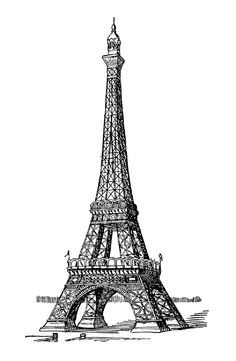 Eiffel tower color. Realistic drawing to print