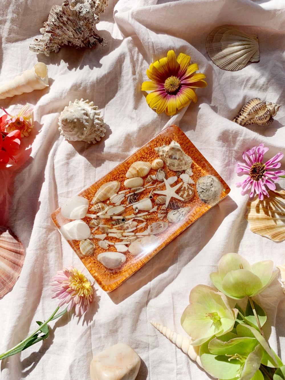 Orange Resin Soap Dish with Shells — Storytellers