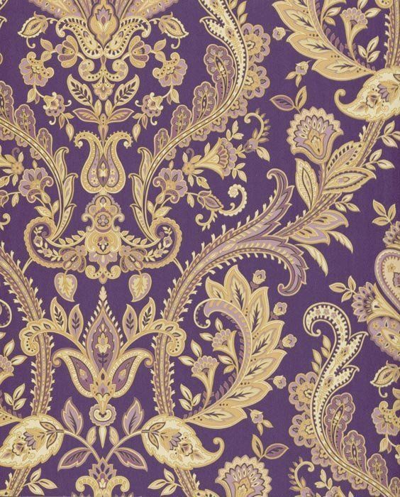 Stunning Purple Gold Paisley Wallpaper In 2019 Wallpaper