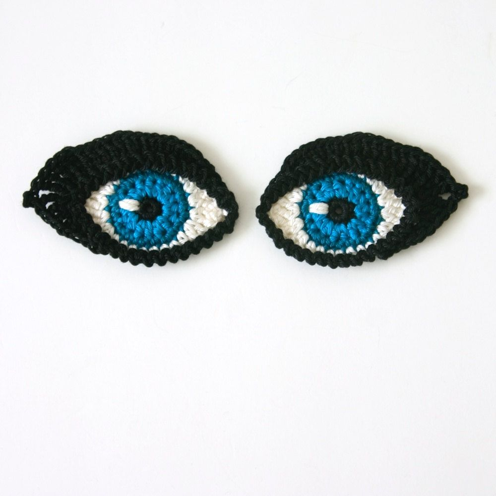 Crochet PATTERN Eyes BOOKMARK and applique / motif for dolls ...