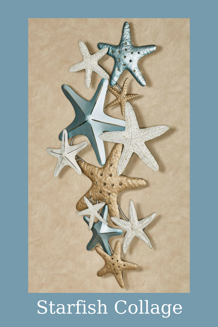 Wish Upon The Starfish Collage Metal Wall Art For A Beautiful Coastal Vibe To Wash Over Your Home Handpainted In Metallic Blue Satin Gold And Ivory With