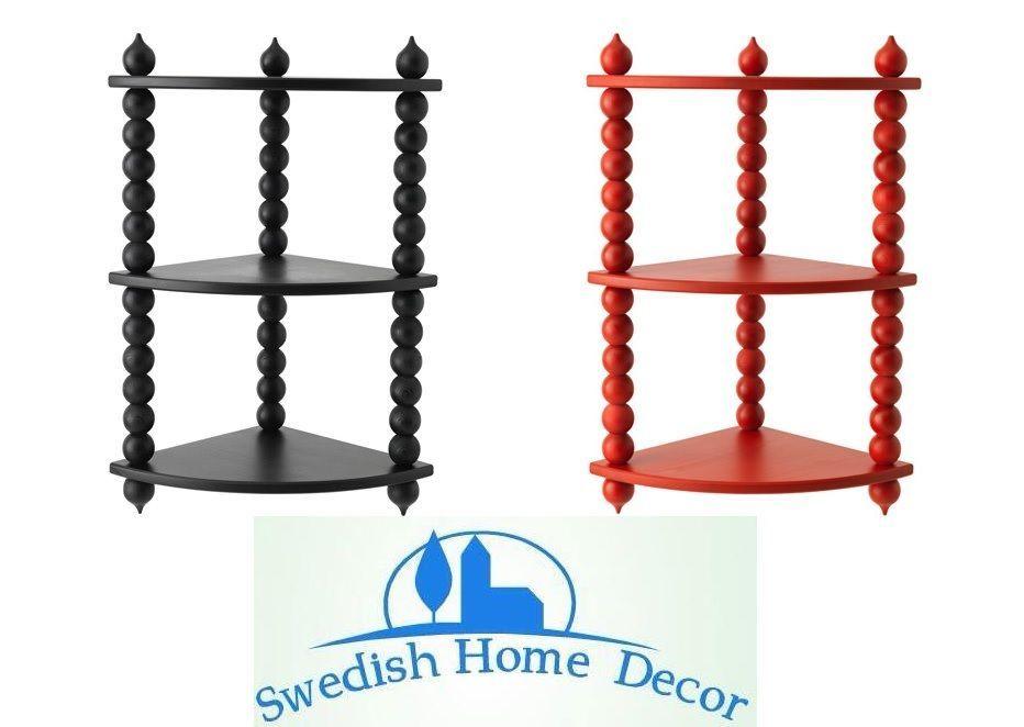 New Ikea Ryssby 2014 Corner Shelf Red Black 3 Tier Solid Pine Ikea Corner Shelves Swedish Home Decor Ikea