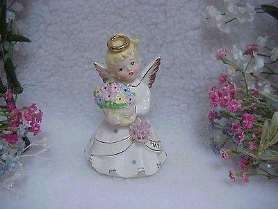 MAY Girl Birthday Angel ~J-6736~Holding Basket of Flowers~Pink Flower On Dress | #508414935