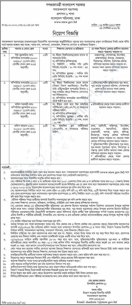 Ministry of Social Welfare Job Circular 2017 Apply Now