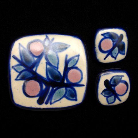 Ceramic Pottery Set Pin & Earrings Painted Vintage Signed Fyrbo Denmark