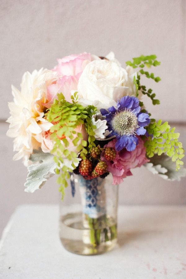 pretty bouquet, love the pop of blue