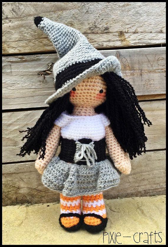 Handmade Crochet Amigurumi Meglaly Witch by PixieCraftDolls