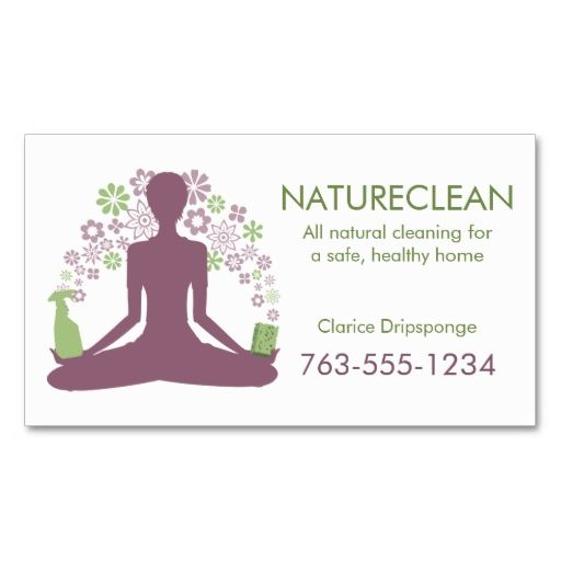 Yoga zen natural home cleaning house cleaner business card ...