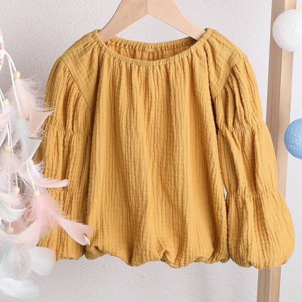 Children Girls Long Lantern Sleeve Blouse Tops Outfits Clothes Casual Blouse