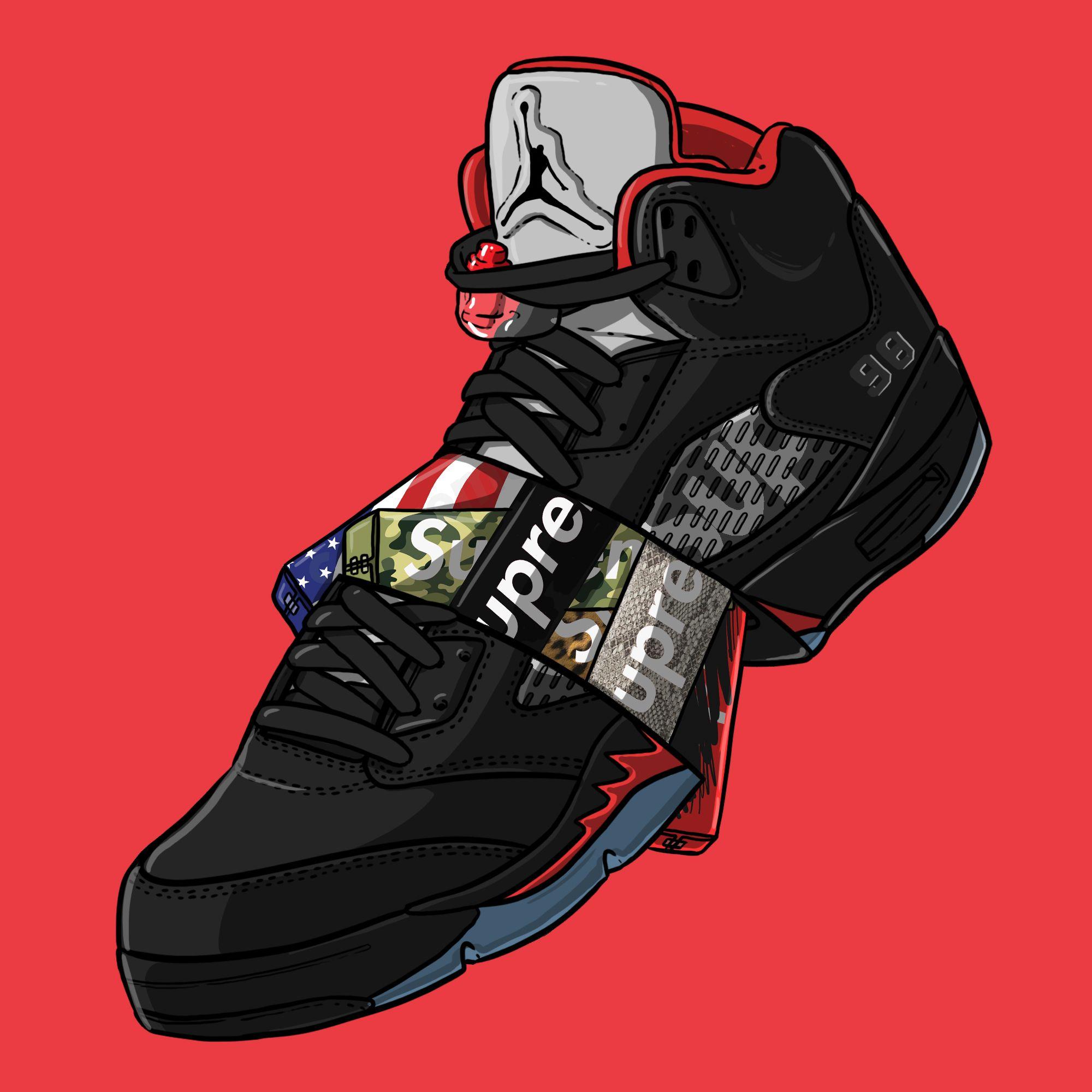 """Sneaker Wallpaper: Sneaker Art - Supreme V """"Black"""""""