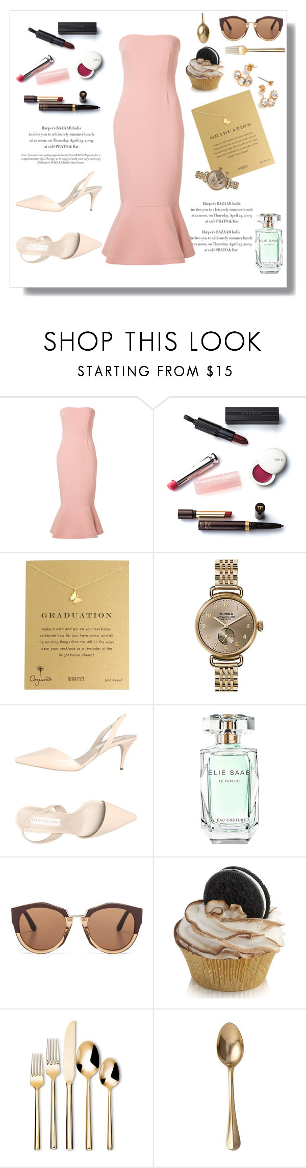 """Graduation Pink"" by swankswanker ❤ liked on Polyvore featuring Cinq à Sept, Christian Dior, Dogeared, Shinola, STELLA McCARTNEY, Elie Saab, Marni, Threshold, Juliska and Graduation"