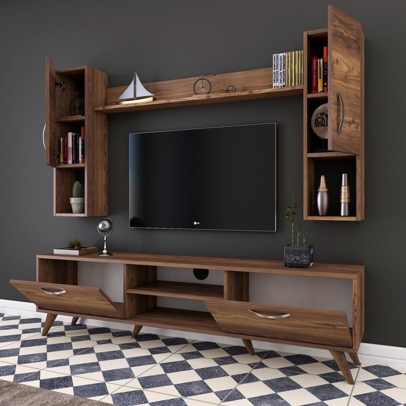 A9 Wall Shelf Tv Unit With Bookcase Wall Mounted Cabinet With Stand Modern Tv Stand Walnut M27 In 2020 Tv Room Design Living Room Tv Unit Designs Luxury Furniture Living Room