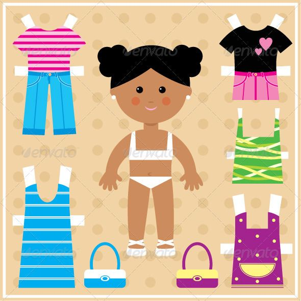Paper doll with clothes set  #GraphicRiver         Vector illustration. It is created in the CorelDraw program. It is edited in the Adobe Illustrator program. It is kept in illustrator eps version 8. The file can be edited in any program of vector graphics. The size of the file can be increased till any size without quality loss. In this file there are no gradiyentny fillings and mesh. File full-color. The illustration can be used both entirely, and in parts.     Created: 27July12 GraphicsFilesI
