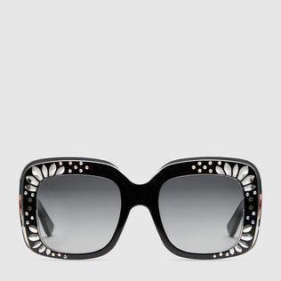 Latest Gucci Eyewear Black Square Frame Sunglasses For Women