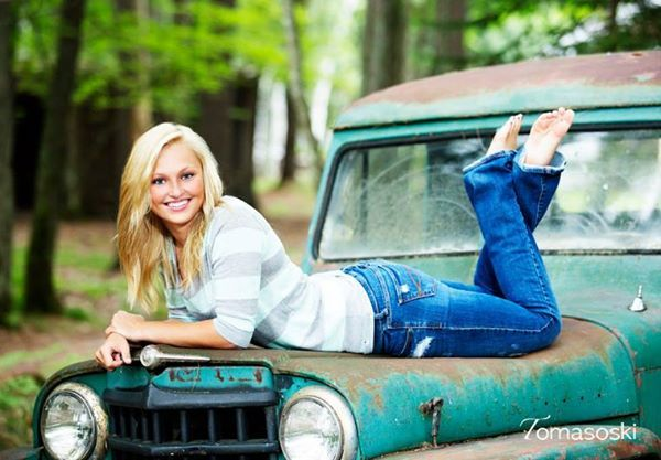 Senior Picture Cute Pose On Top Of A Vintage Car Hood Girl