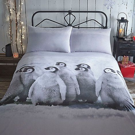 Home Collection Snowy christmas penguin bedding set - king size ...